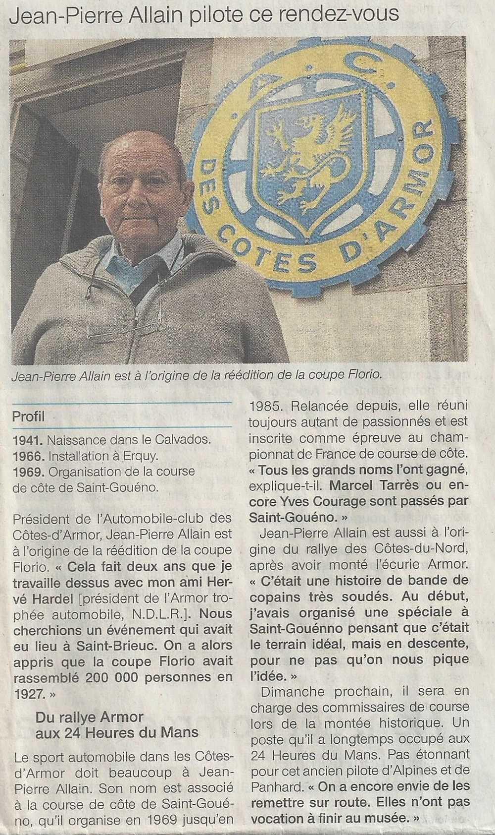 Jean-Pierre ALLAIN à l''origine de la réédition de la Coupe Florio en 2011 0